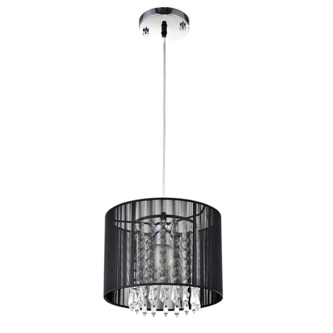 Impressive Top Black Pendant Light With Crystals In Modern Black Gauze Shade Crystal Pendant Lighting 7266 Browse (View 15 of 25)