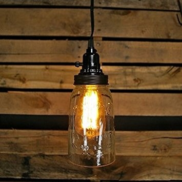 Impressive Trendy Mason Jar Pendant Lights Intended For Quart Open Bottom Mason Jar Pendant Lamp Rustic Brown Ceiling (Image 16 of 25)