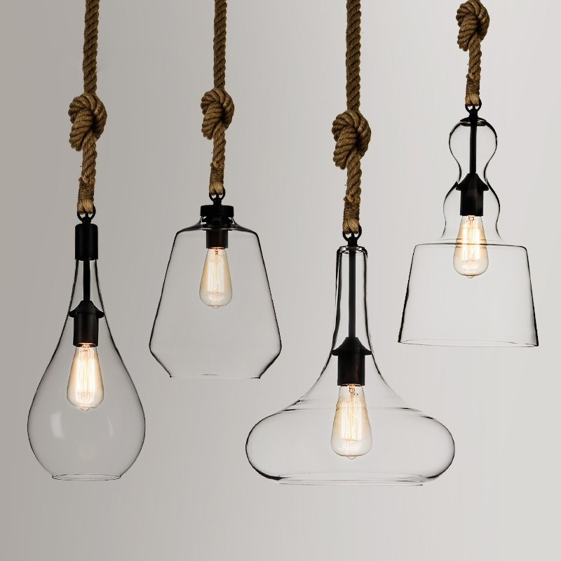 Impressive Unique Rustic Clear Glass Pendant Lights For 96ea Rustic Simplistic 1 Light Clear Glass Shade Hemp Rope (Image 15 of 25)