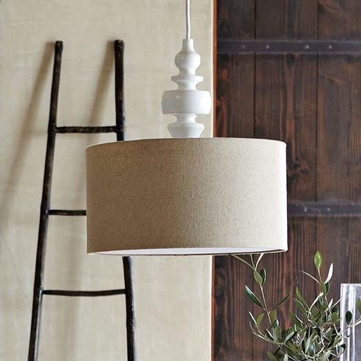 Impressive Variety Of West Elm Drum Pendants Within Turning Pendant Whitenatural West Elm (Image 12 of 25)