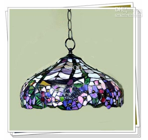 Impressive Well Known Stained Glass Pendant Light Patterns Intended For Tiffany Style Elegant Stained Glass Pendant Light Dragonfly (View 19 of 25)