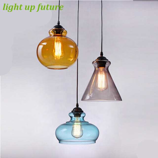 Impressive Widely Used Coloured Glass Pendant Lights With Regard To Aliexpress Buy Vintage Handmade Creative 3 Colors Glass (Image 17 of 25)