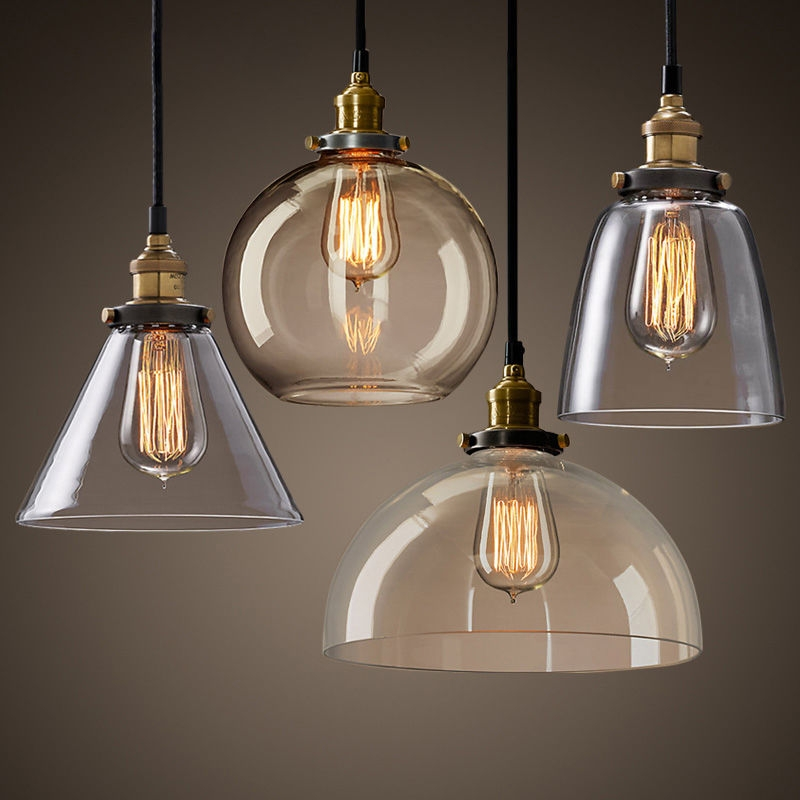 Impressive Widely Used Glass Shades For Pendant Lights Intended For Details About Retro Vintage Industrial Smokey Glass Shade Loft (Image 17 of 25)