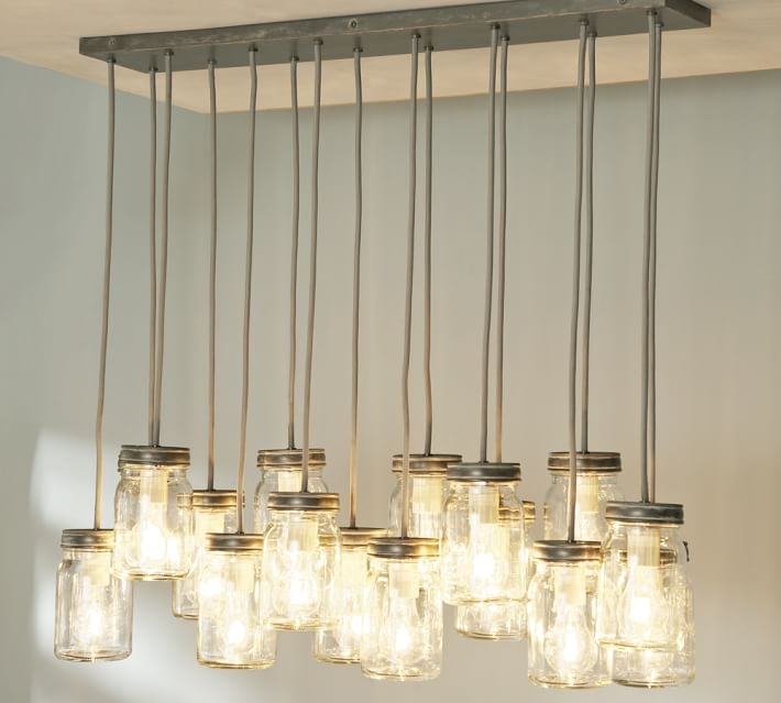 Impressive Widely Used Latest Pendant Lights Inside Exeter 16 Jar Chandelier Pottery Barn (View 20 of 25)