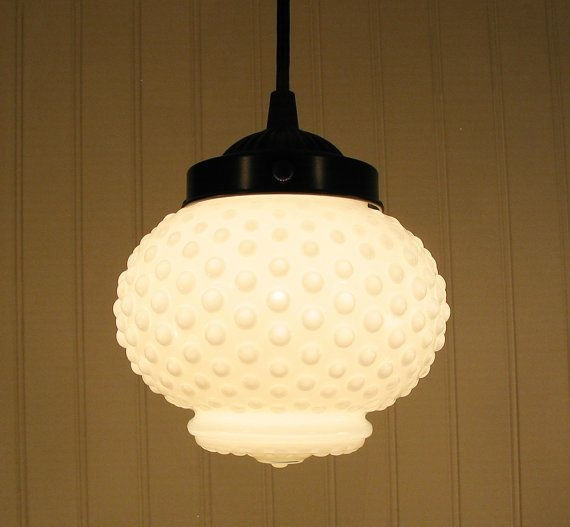 Impressive Widely Used Milk Glass Pendant Light Fixtures Inside Vintage Milkglass Hobnail Globe Pendant Light Globe Pendant Light (Image 14 of 25)