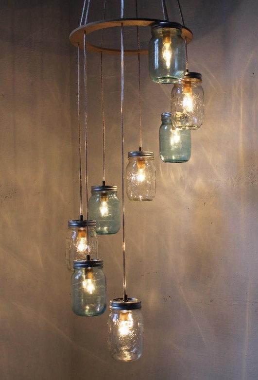Innovative Brand New Mason Jar Pendant Lamps With Regard To Mason Jar Chandelier Rustic Hanging Mason Jar Pendant Lighting (Image 15 of 25)