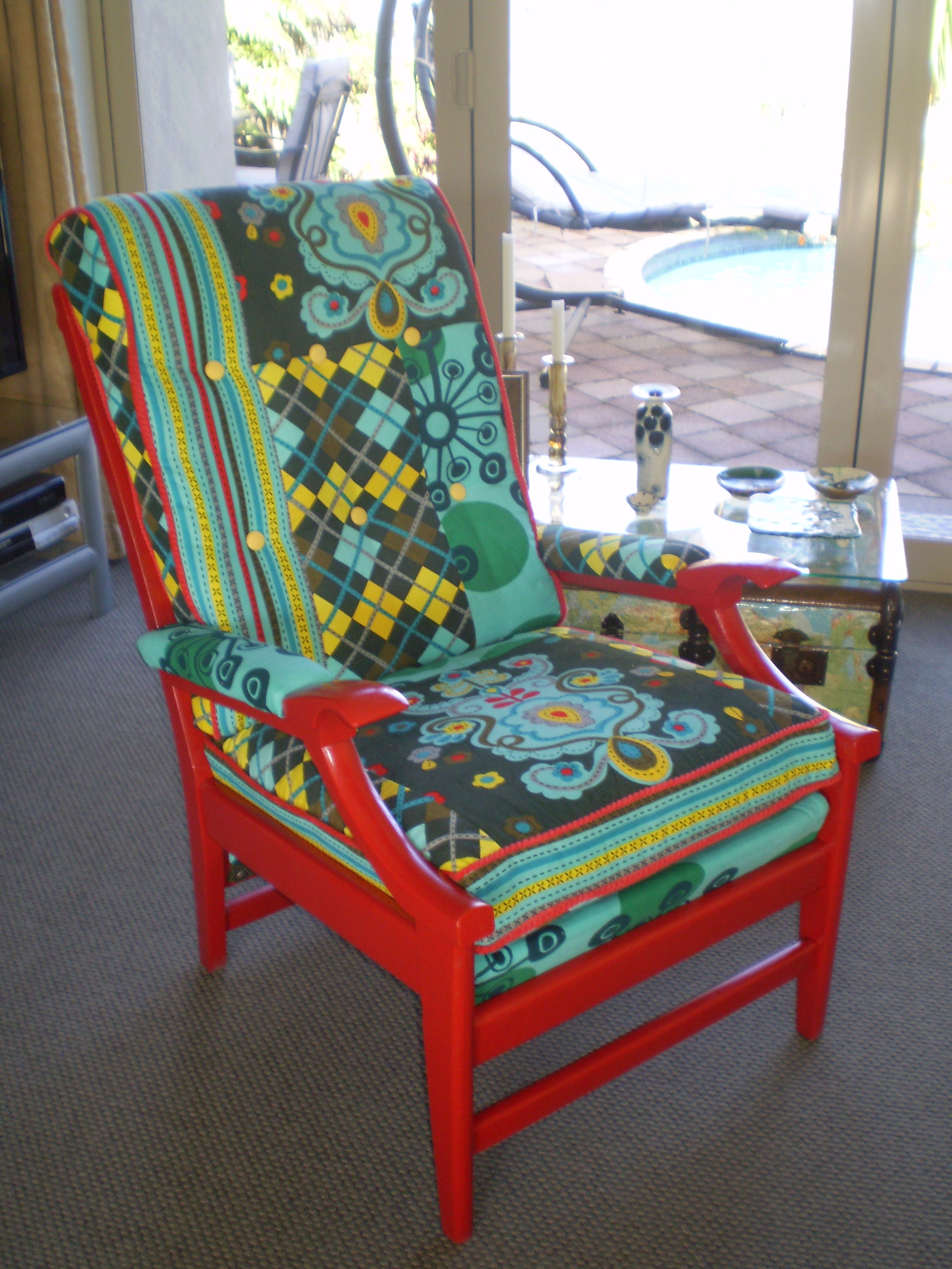 Innovative Common Cintique Chair Covers With Regard To 1960s Cintique Chair Patch Work Material And Painted Cherry Red (Image 10 of 15)