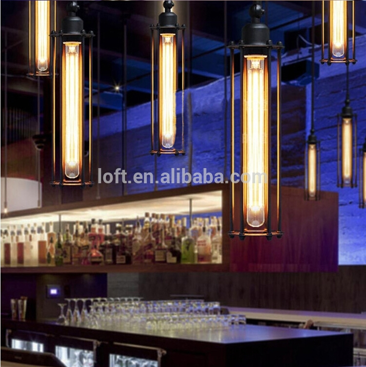 Innovative Common Restaurant Pendant Lighting Inside Wholesale Industrial Black Long Cylindrical Industrial Metal Lamp (Image 13 of 25)