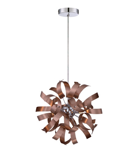 Innovative Deluxe Copper Mini Pendant Lights Throughout Quoizel Rbn1512sg Ribbons 3 Light 12 Inch Satin Copper Mini (Image 13 of 25)