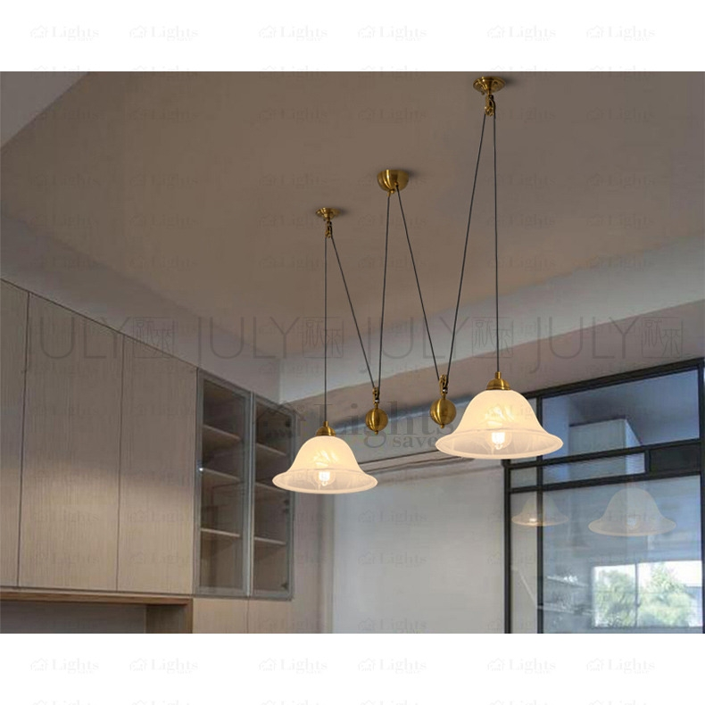 Innovative Elite Pull Down Pendant Lights Within Brass 2 Light Pull Down Pendant Light Fixture Pulley Shaped (Image 15 of 25)