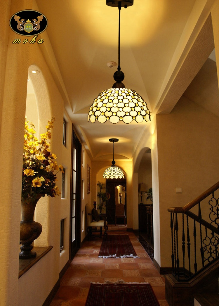 Innovative Famous Entrance Pendant Lights Inside Online Shop Yellow Beads Tiffany Stained Glass Entrance Hallway (Image 16 of 25)