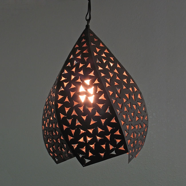 Innovative Favorite Punched Metal Pendant Lights With Rustic Tin Hanging Twisted Light Fixture (Image 17 of 25)