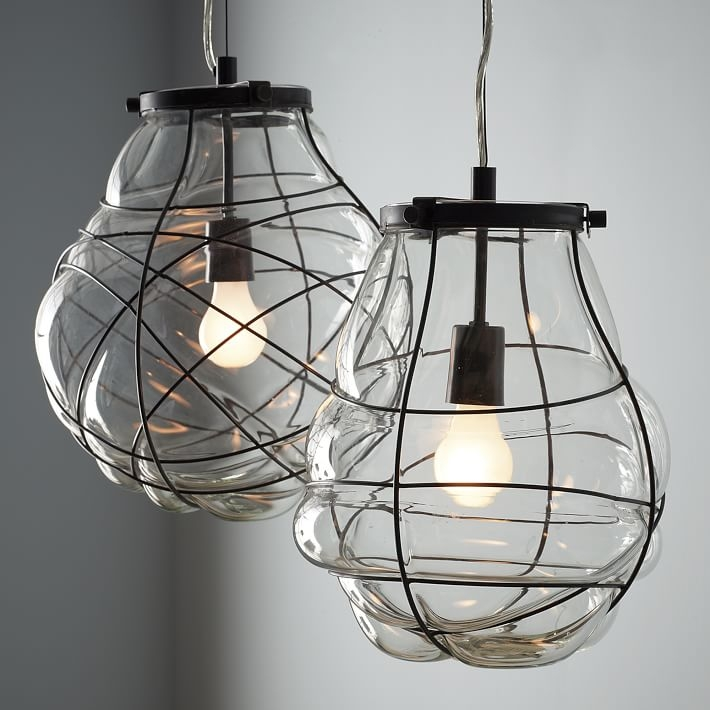 Innovative Favorite Wire And Glass Pendant Lights Inside Organic Blown Glass Pendant West Elm (Image 17 of 25)