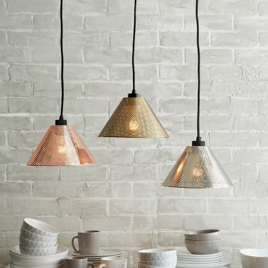 Innovative Latest Punched Metal Pendant Lights With Regard To Perforated Metal Industrial Pendant West Elm (Image 19 of 25)