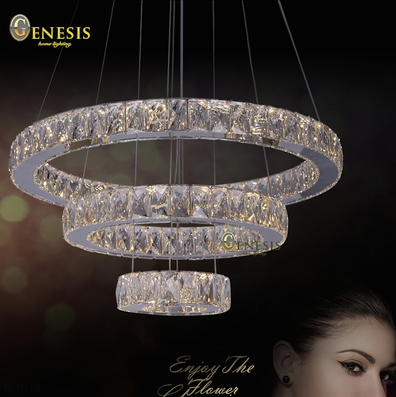 Innovative Latest Remote Control Pendant Lights With Regard To Solfart Lamp Circle 3 Ring Led Crystal Pendant Light With Remote (View 9 of 25)