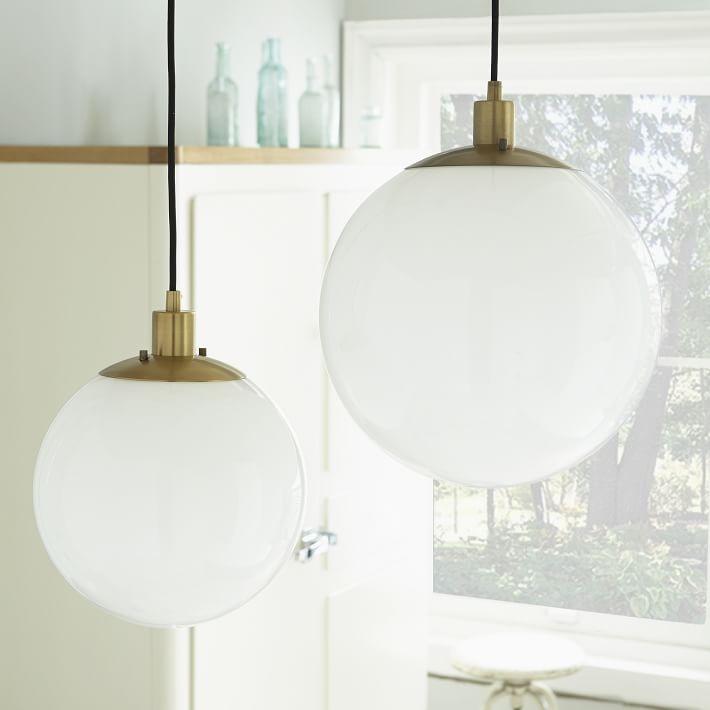Innovative New Milk Glass Pendant Light Fixtures Regarding Globe Pendant Antique Brassmilk Finish West Elm (View 18 of 25)