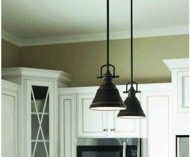 Innovative Series Of Allen And Roth Pendants Within Allen Roth 8 In W Bronze Mini Pendant Light With Metal Shade (View 14 of 25)