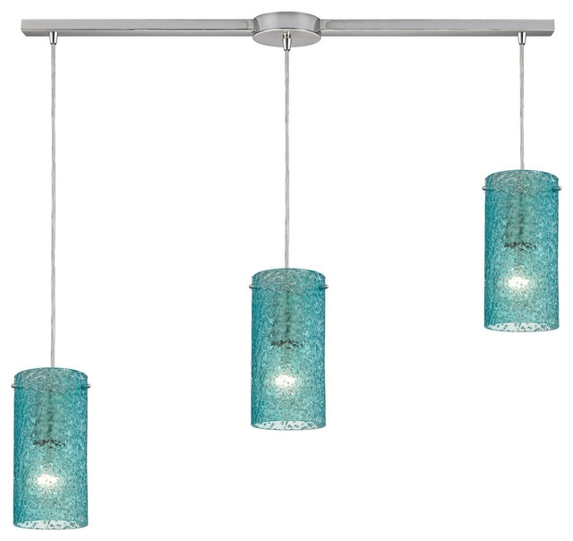Innovative Top Aqua Glass Pendant Lights Inside Ice Fragments 3 Light Pendant In Satin Nickel Contemporary (Image 13 of 25)