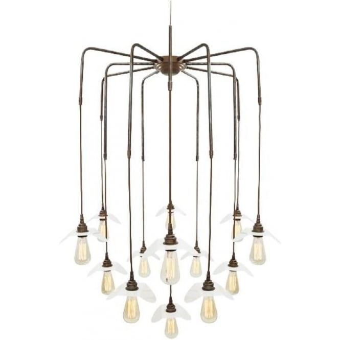 Innovative Trendy Bare Bulb Cluster Pendants Intended For Large Contemporary Cluster Of 13 Bare Bulb Ceiling Pendants Long Drop (Image 14 of 25)