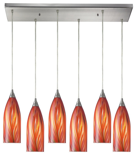 Innovative Trendy Multi Coloured Pendant Lights With Regard To Elk Lighting Cilindro 6 Light Pendant With Rectangular Canopy (Image 16 of 25)