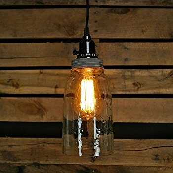 Innovative Unique Mason Jar Pendant Lamps With Quart Open Bottom Mason Jar Pendant Lamp Rustic Brown Ceiling (Image 16 of 25)