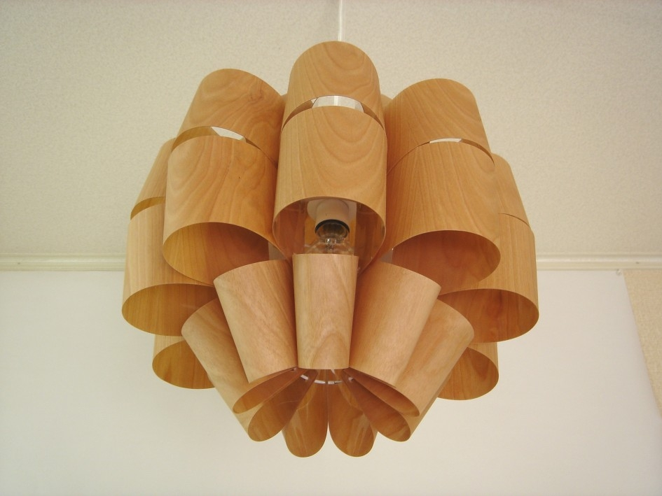 Innovative Variety Of Wood Veneer Light Fixtures Inside Creative Handmade Wood Veneer Lampshade Natutral Ash Wood Pendant (View 23 of 25)