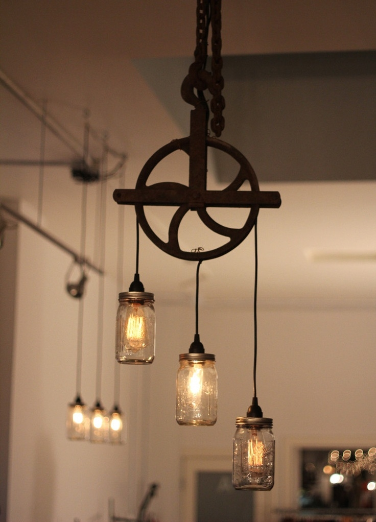 Innovative Wellliked Double Pendant Light Fixtures Regarding Industrial Pulley Double Pendant Vintage Industrial Pulley Light (Image 19 of 25)