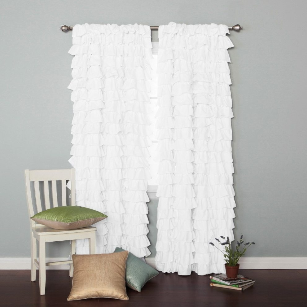 Innovative White Ruffle Curtains 114 White Ruffle Shower Curtain With Regard To White Ruffle Curtains (View 18 of 25)