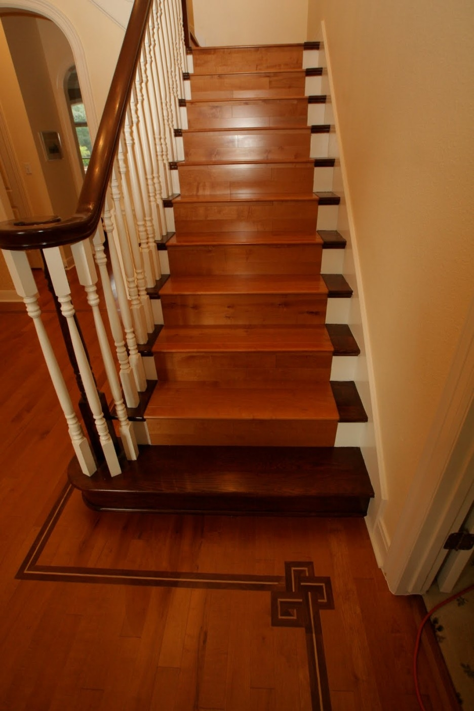 Interior Simple Home Stair Design With Brown Oak Tread Covers And Intended For Brown Stair Treads (Image 4 of 15)
