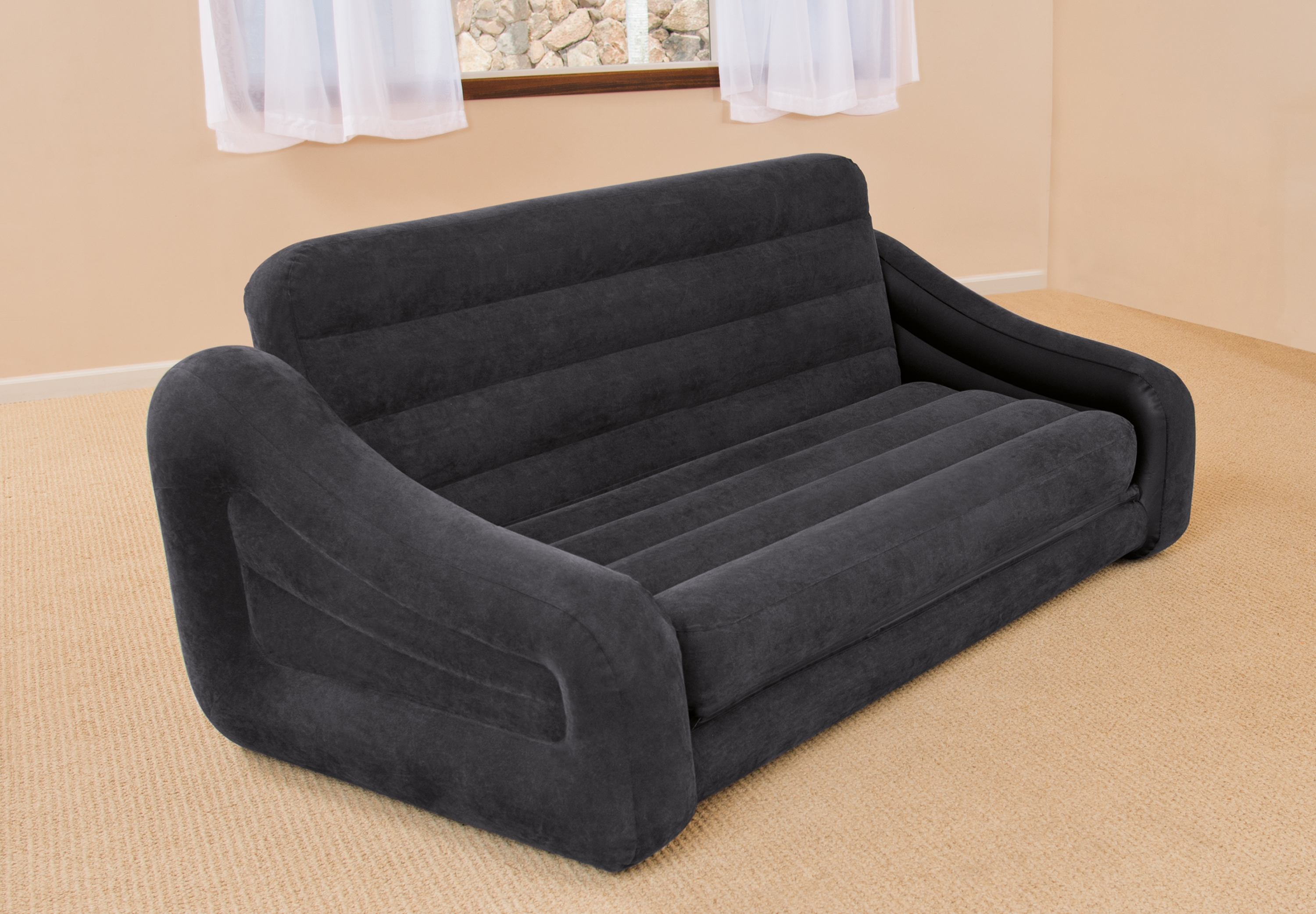 Intex Inflatable Pull Out Sofa Queen Bed Mattress Sleeper W Ac With Regard To Pull Out Sofa Chairs (Image 8 of 15)