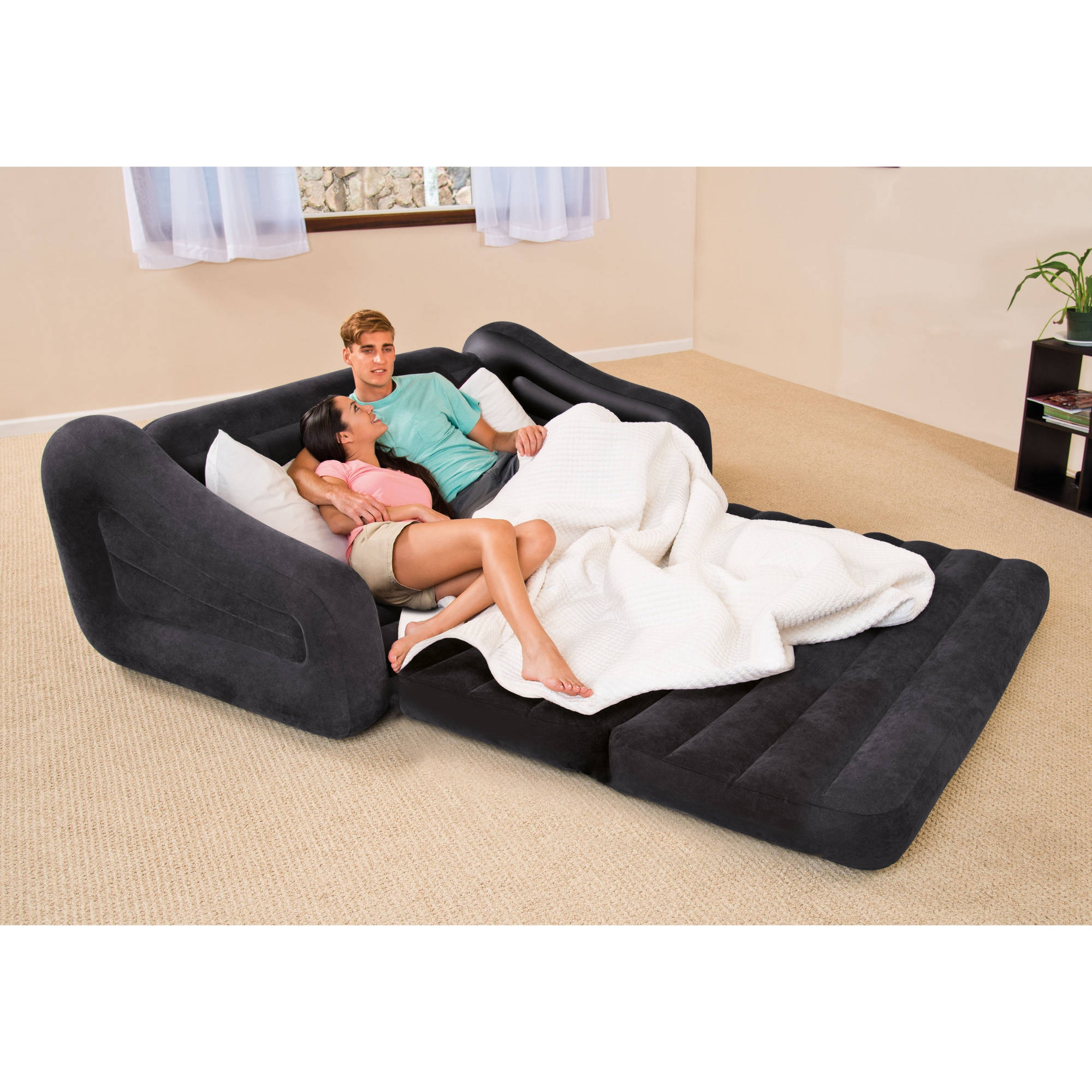 Intex Queen Inflatable Pull Out Sofa Bed Walmart Regarding Pull Out Sofa Chairs (Image 9 of 15)