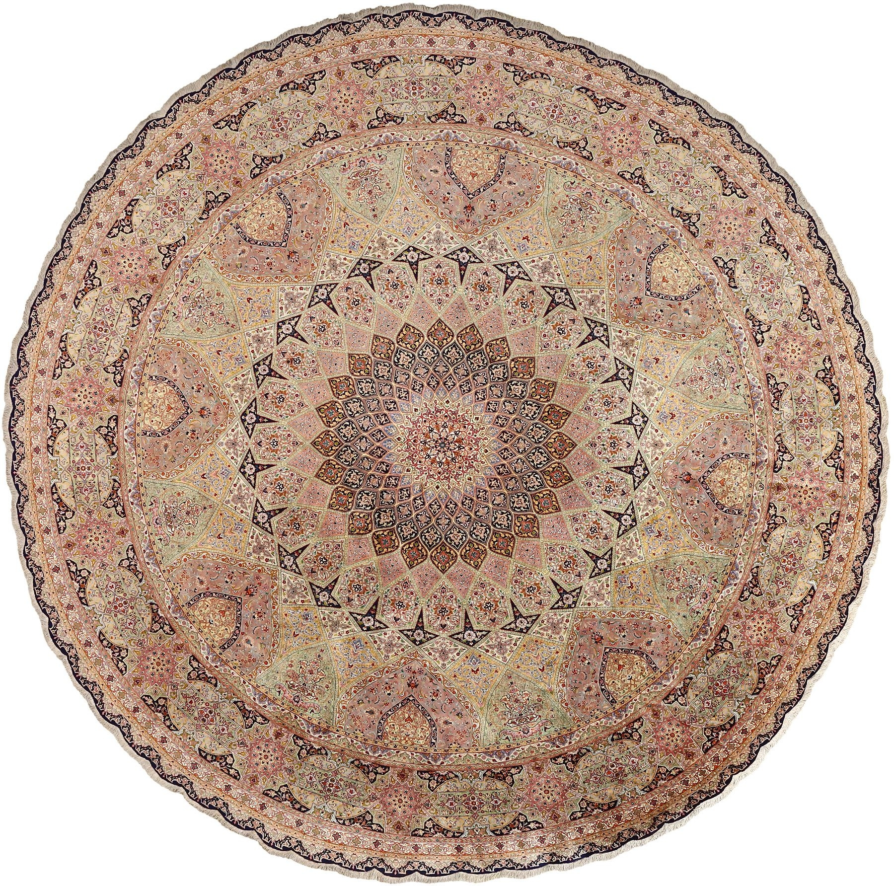 Intricate Round Tabriz Persian Rug 51137 Nazmiyal Throughout Round Persian Rugs (View 2 of 15)