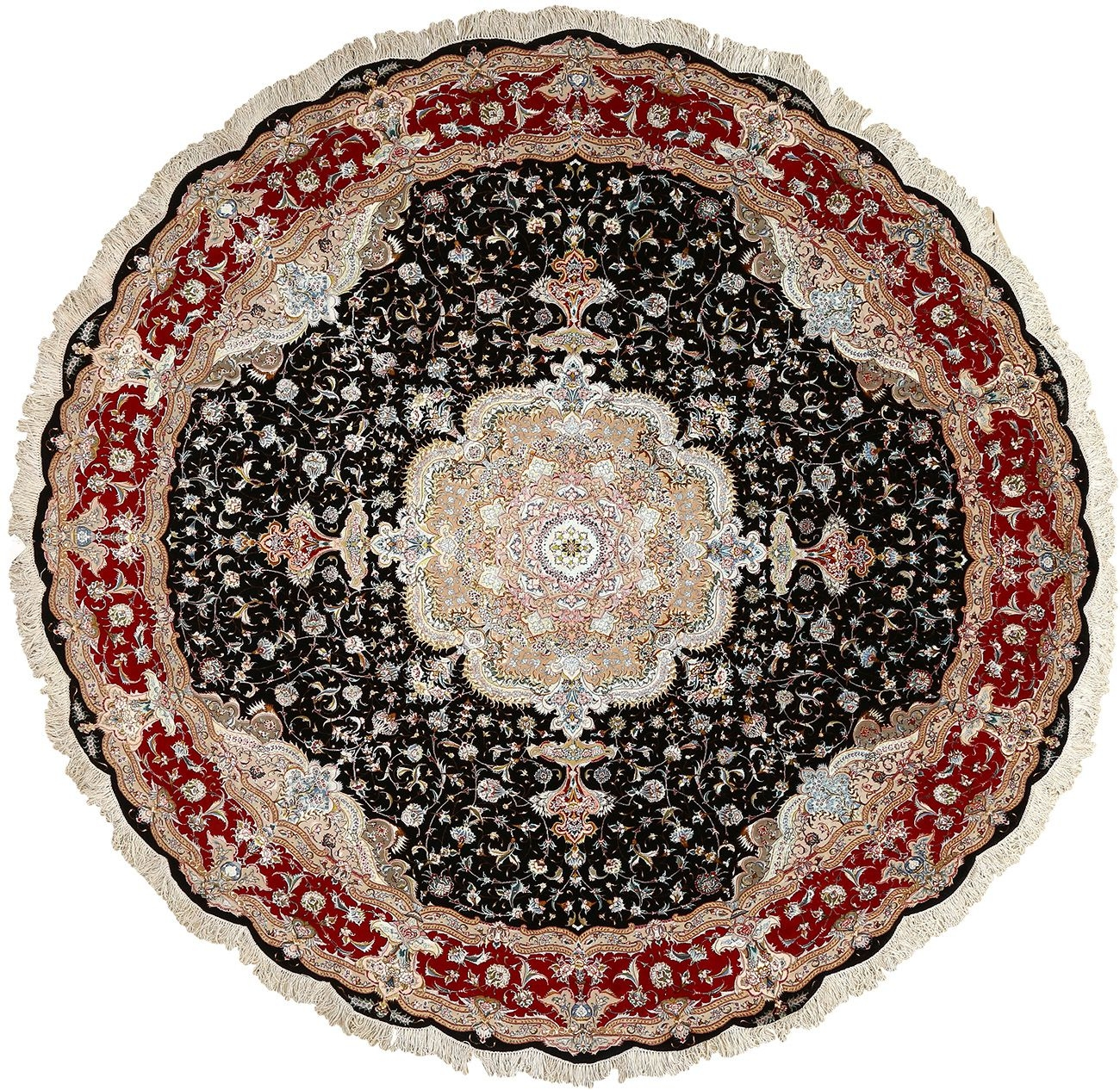 Intricate Round Vintage Tabriz Persian Rug 51136 Nazmiyal With Round Persian Rugs (Image 10 of 15)