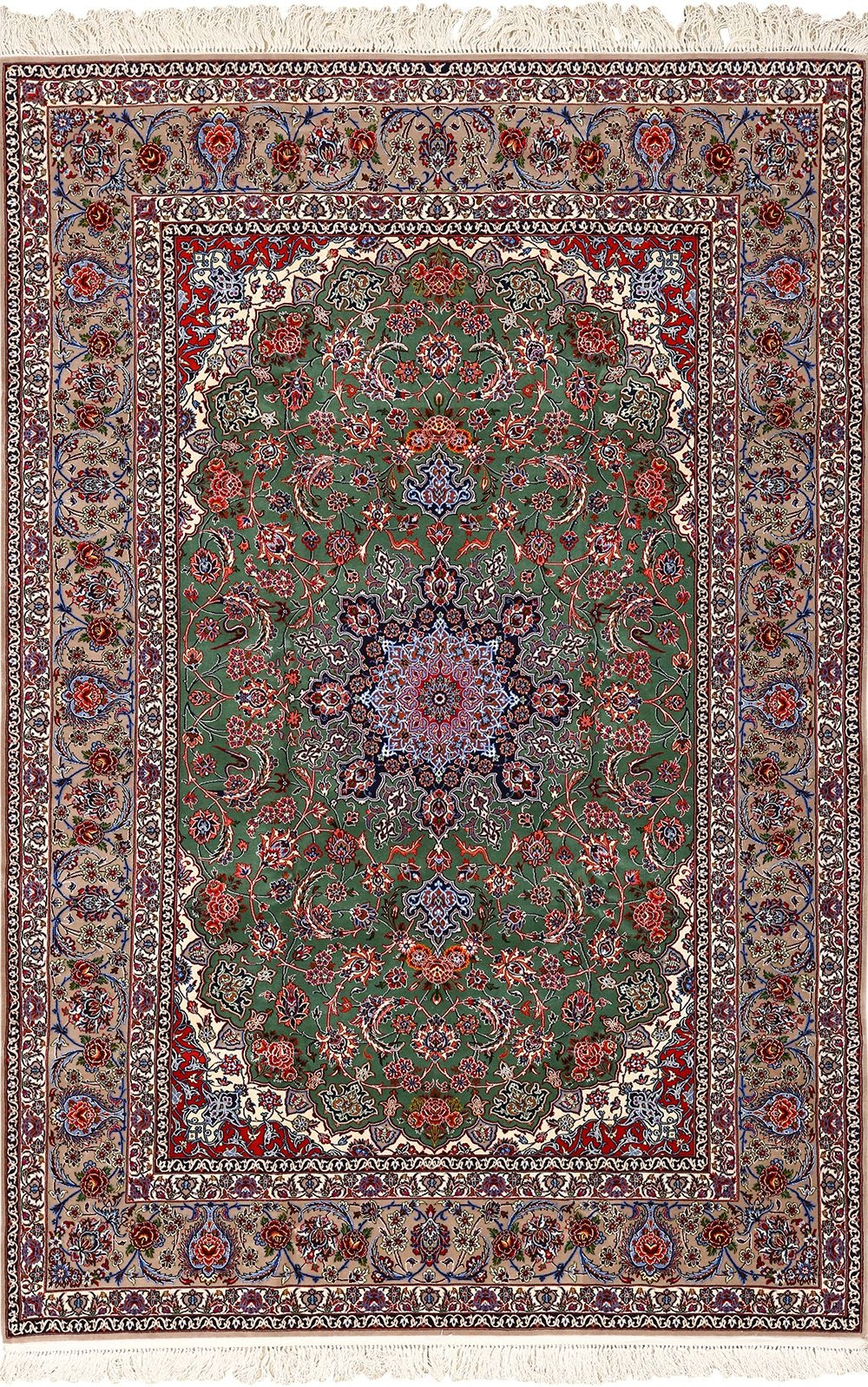 Intricate Vintage Isfahan Persian Rug 51153 Nazmiyal Persian Rugs Pertaining To Green Persian Rugs (Image 15 of 15)