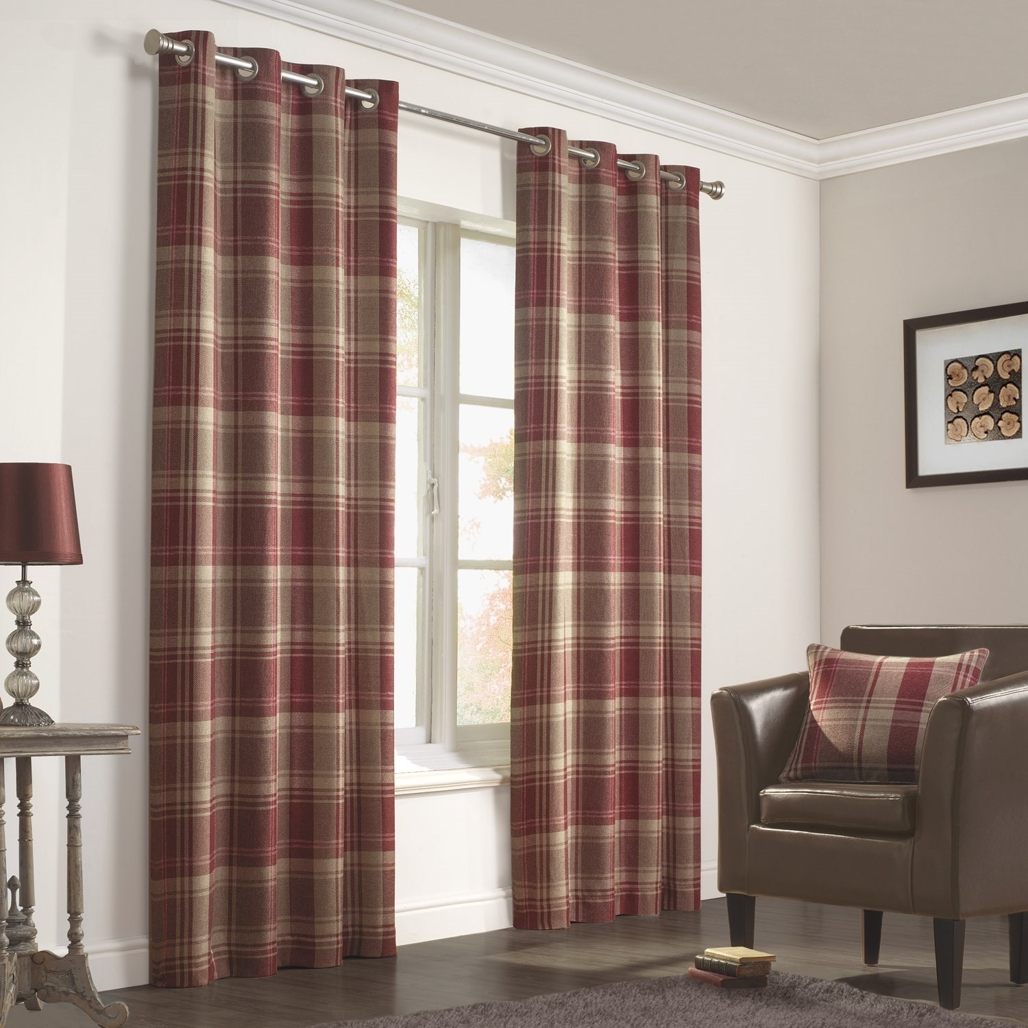 Inverness Rust Luxury Lined Woven Eyelet Curtains Pair With Regard To Brown Eyelet Curtains (Image 11 of 25)