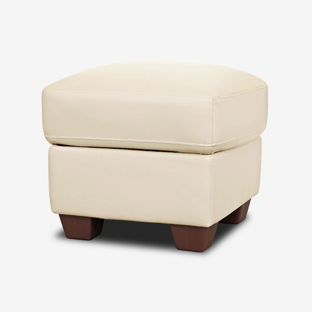 Ivory Cream Leather Footstool With Storage With Regard To Leather Footstools And Pouffes (Image 6 of 15)