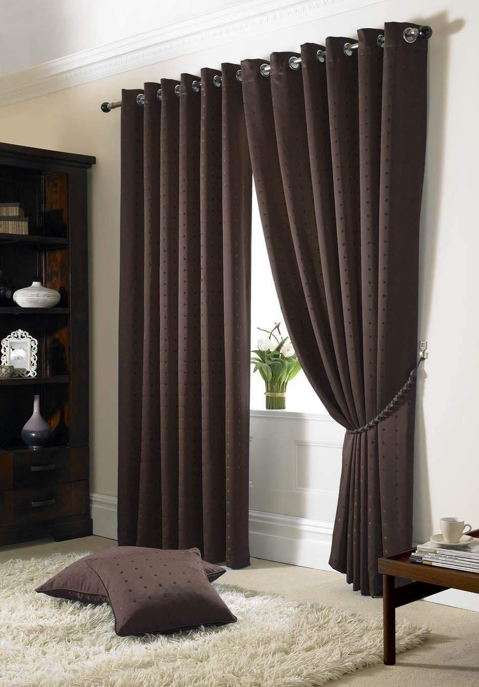 Jacquard Check Black Lined Ring Top Eyelet Curtains Drapes 6 Sizes Within Brown Eyelet Curtains (Image 12 of 25)