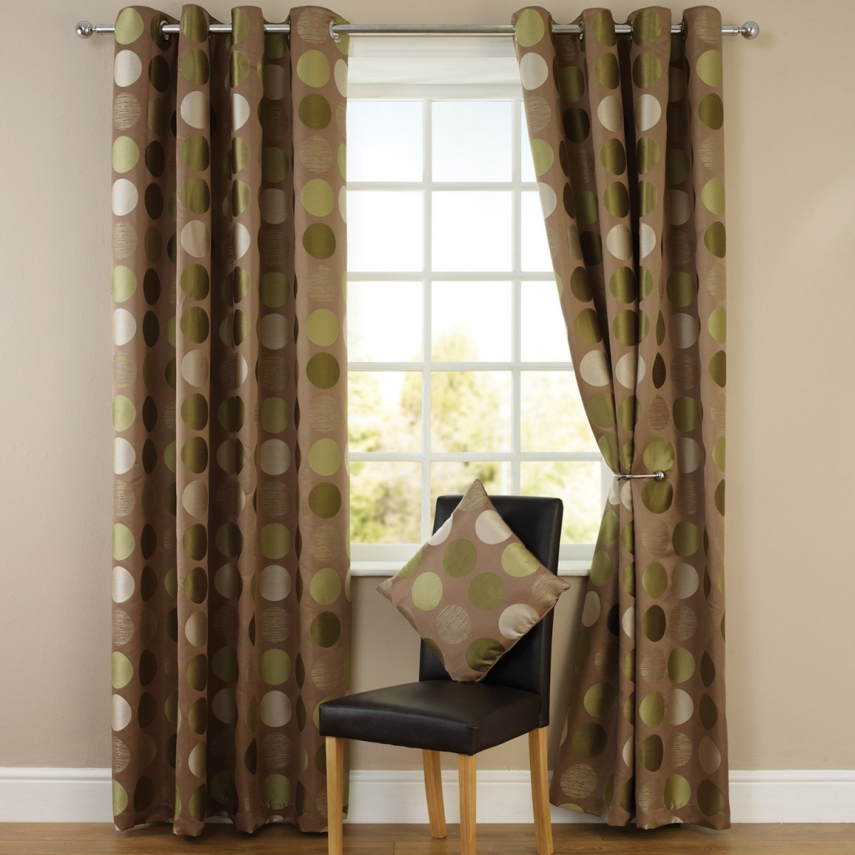 Jacquard Lined Eyelet Curtains Green With Brown Eyelet Curtains (Image 13 of 25)
