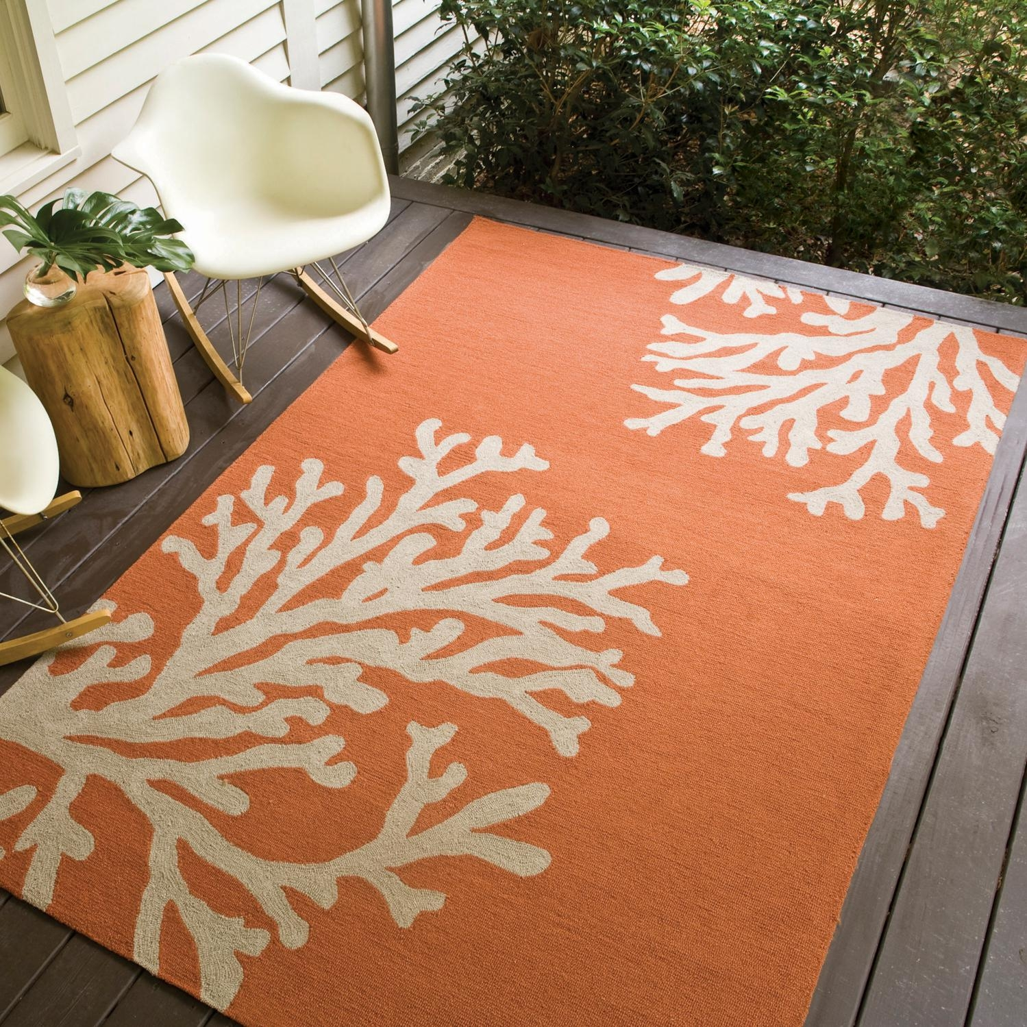 Jaipur Rugs Grant Bough Out 9 X 12 Indooroutdoor Rug Orange Within Outside Rugs For Decks (Image 4 of 15)