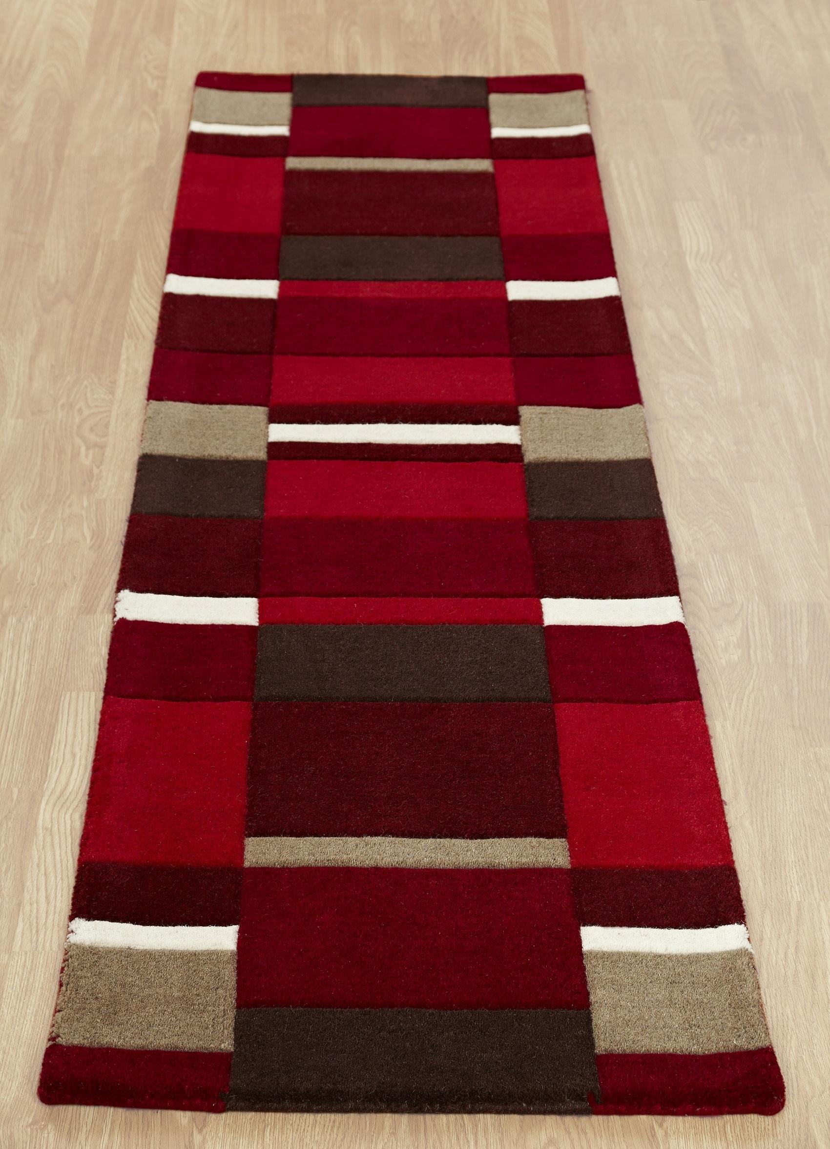 Jazzblocksredrunner Within Red Wool Rugs (Image 4 of 15)