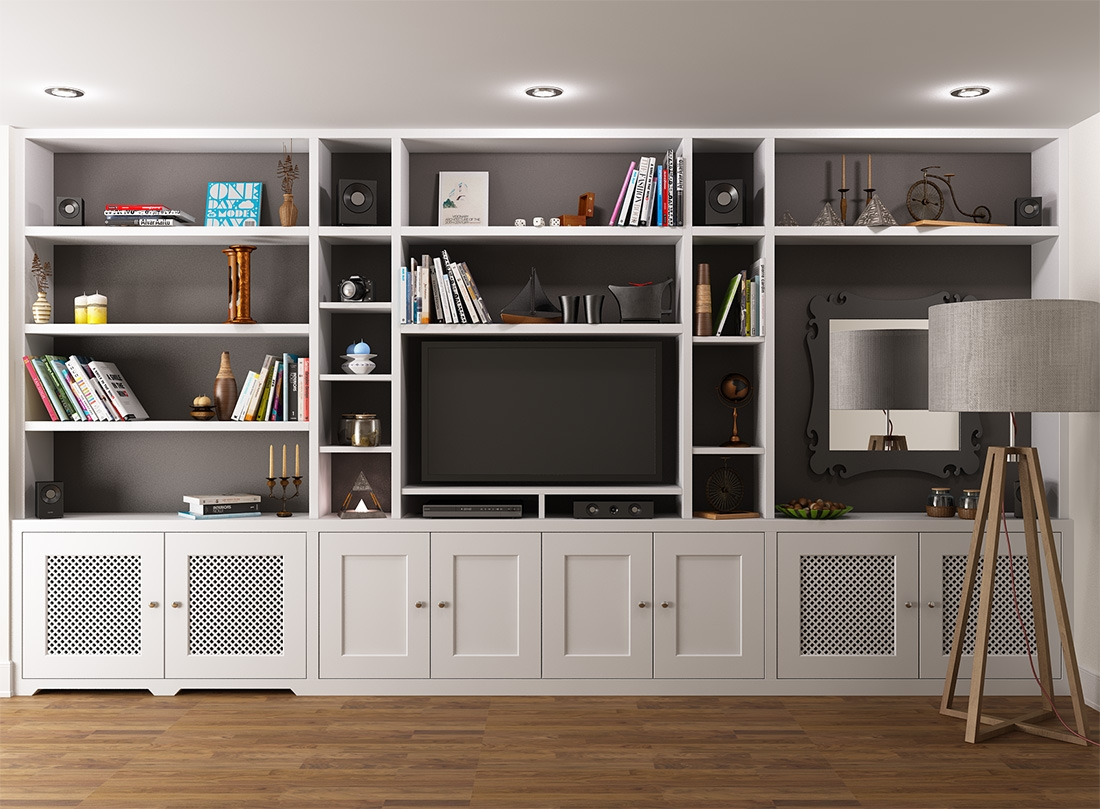 Joinery Configuration Like This To Take Up Tv Wall And Conceal All Pertaining To Fitted Living Room Cabinets (Image 9 of 15)