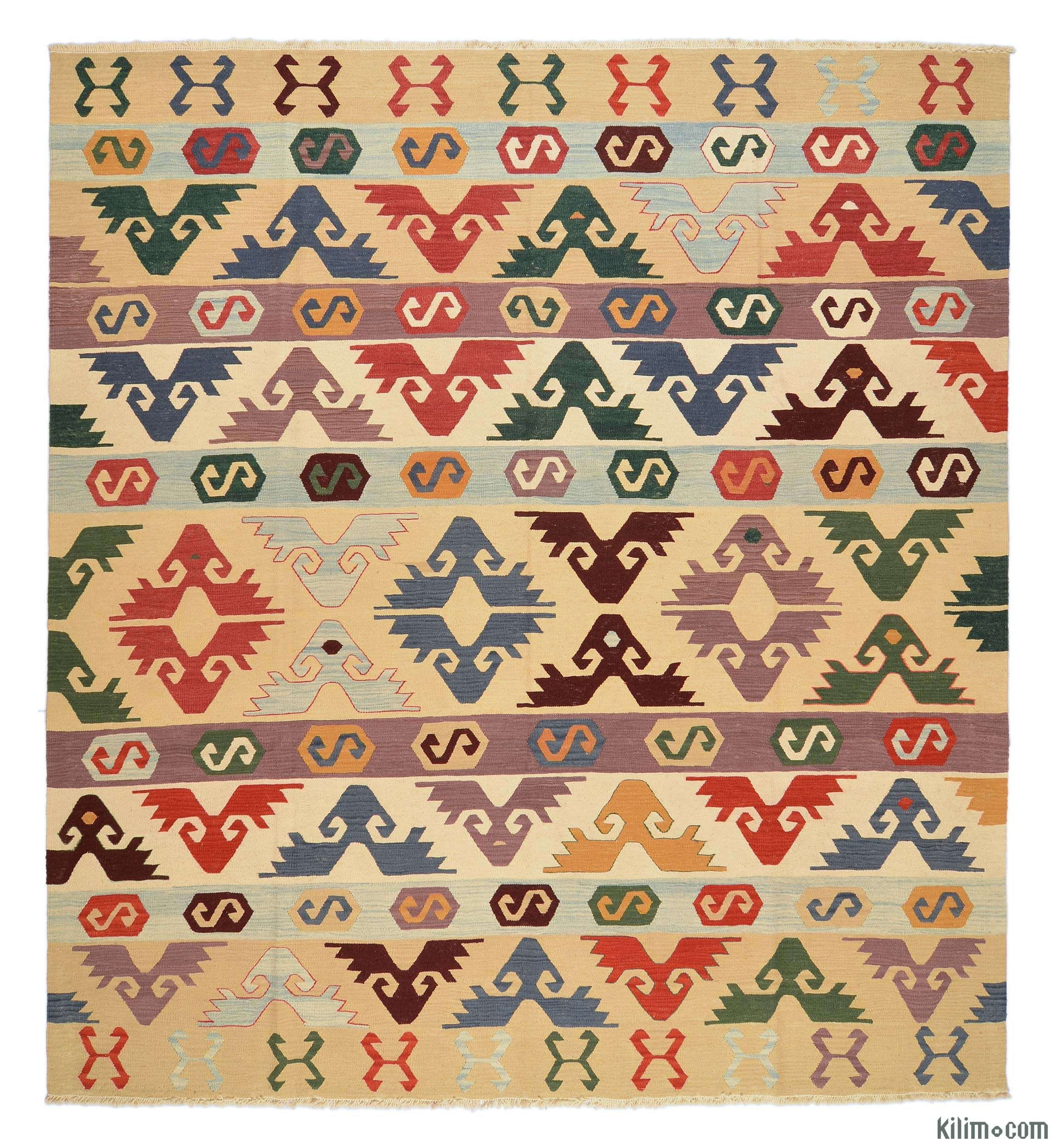 K0005819 Beige Multicolor New Turkish Kilim Rug Kilim Rugs With Regard To Turkish Kilim Rugs (Image 7 of 15)