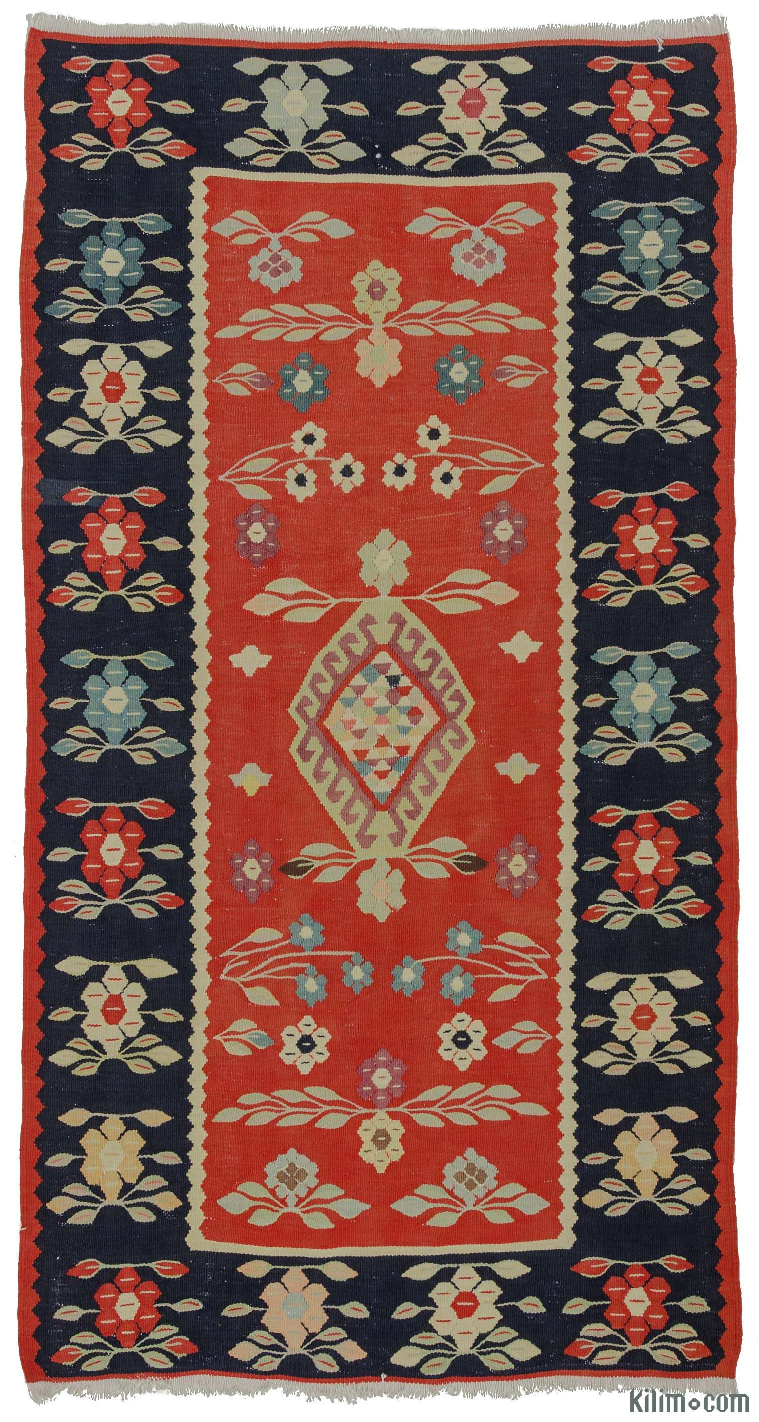 K0009728 Red Blue Vintage Romanian Kilim Rug Kilim Rugs In Kilim Rugs (Image 7 of 15)