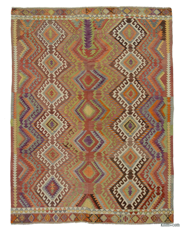 K0018857 Multicolor Vintage Afyon Kilim Rug Kilim Rugs Overdyed In Kilim Rugs (Image 8 of 15)