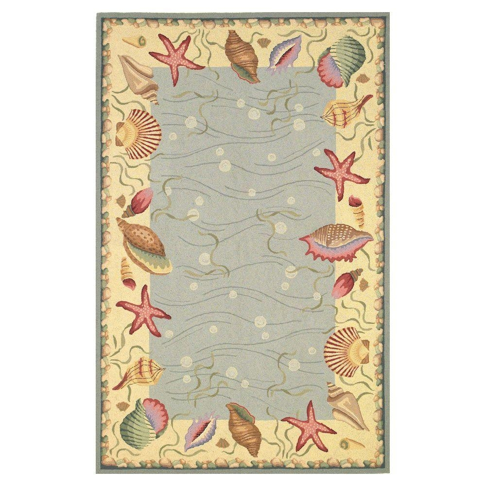 Kas Rugs Seaside Border Blueivory 8 Ft X 10 Ft 6 In Area Rug With Seaside Rugs (View 9 of 15)