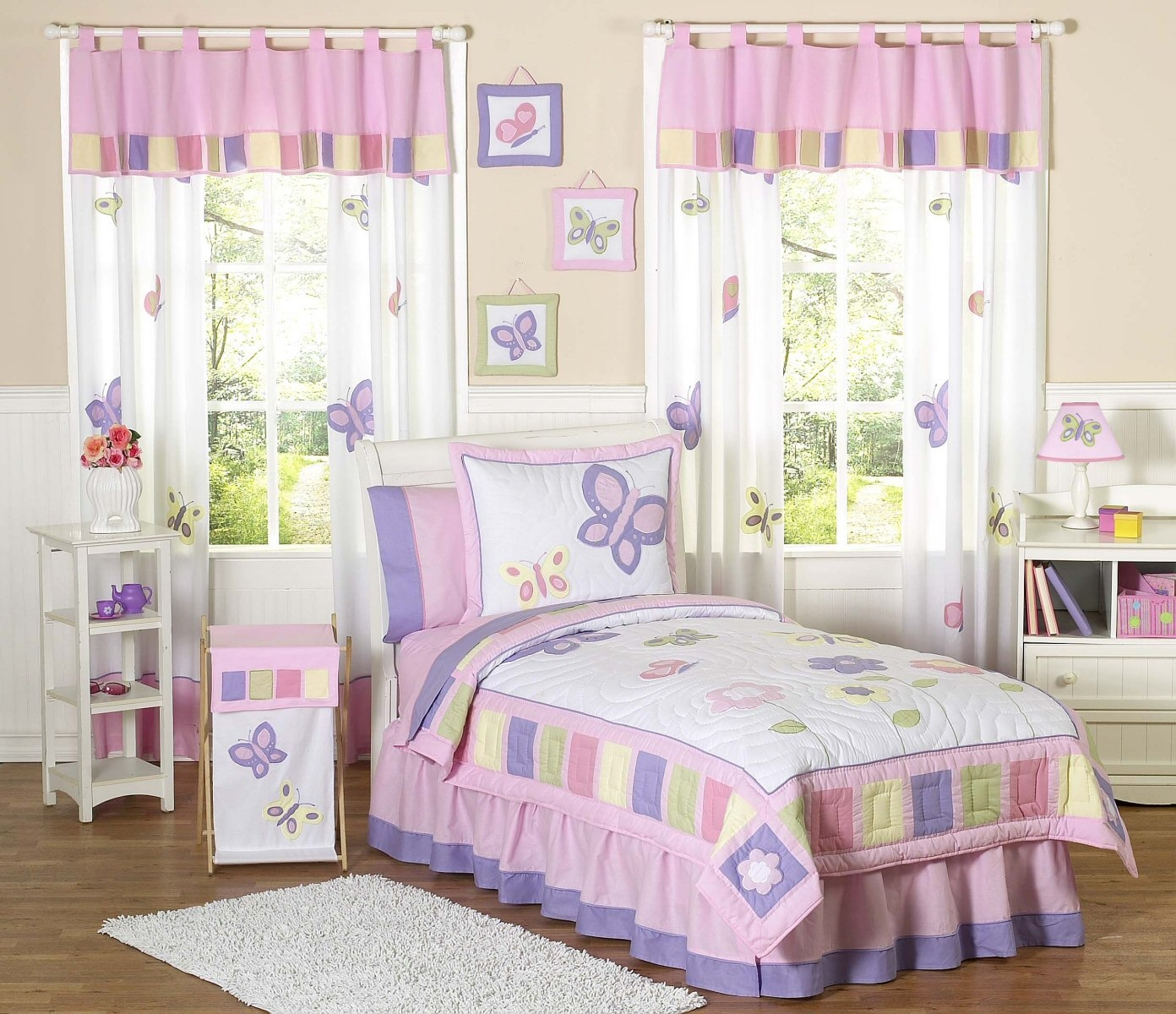 Kids Butterfly Bedding Pink Purple Lavender Twin Fullqueen Pertaining To Purple Curtains For Kids Room (Image 14 of 25)