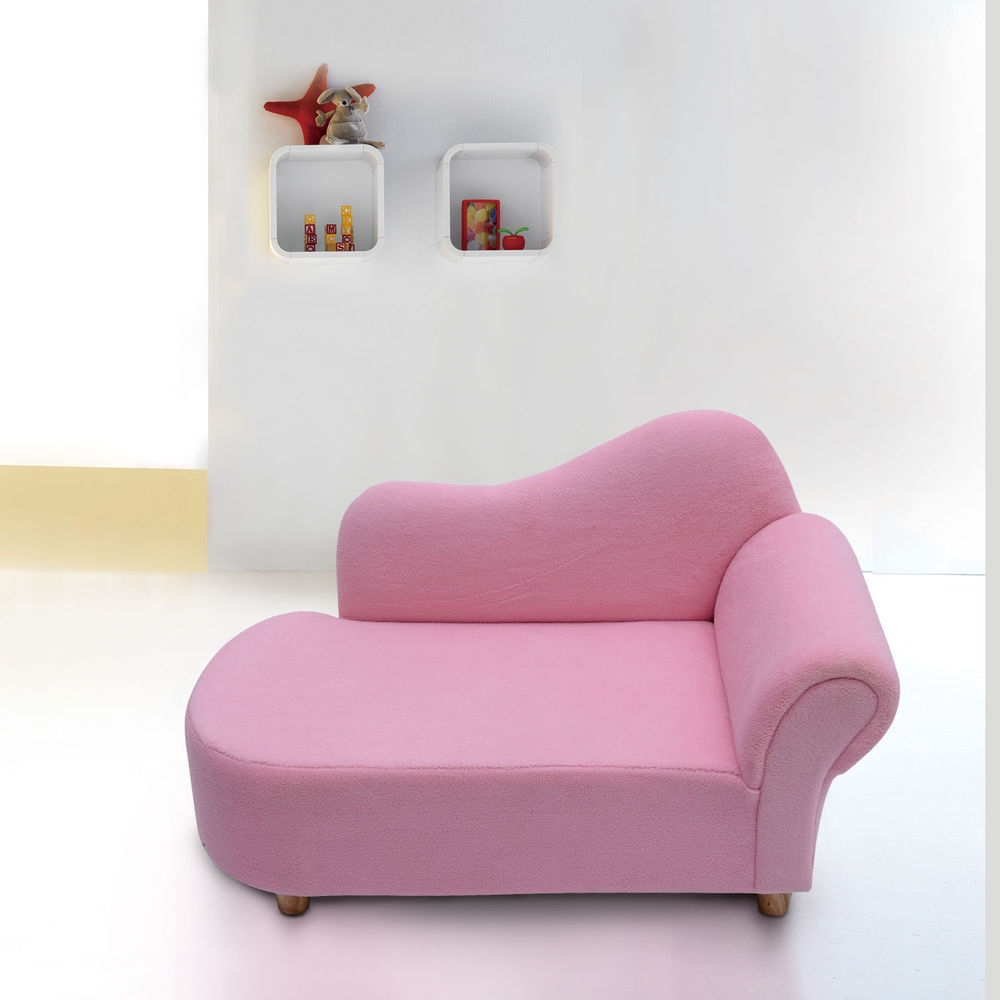 Kids Sofa Girls Pink Armchair Children Velvet Chaise Longue Chair Regarding Childrens Sofa Bed Chairs (Image 11 of 15)
