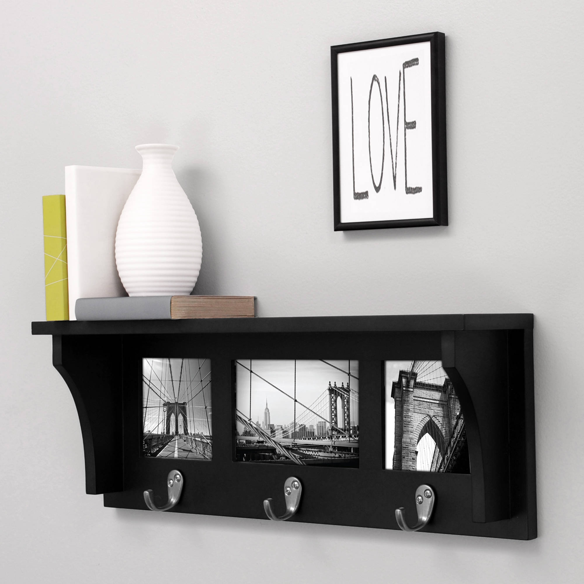 Kiera Grace Riley 18 Wall Shelf And Picture Collage With 3 Metal Throughout Wall Shelf (Image 5 of 15)
