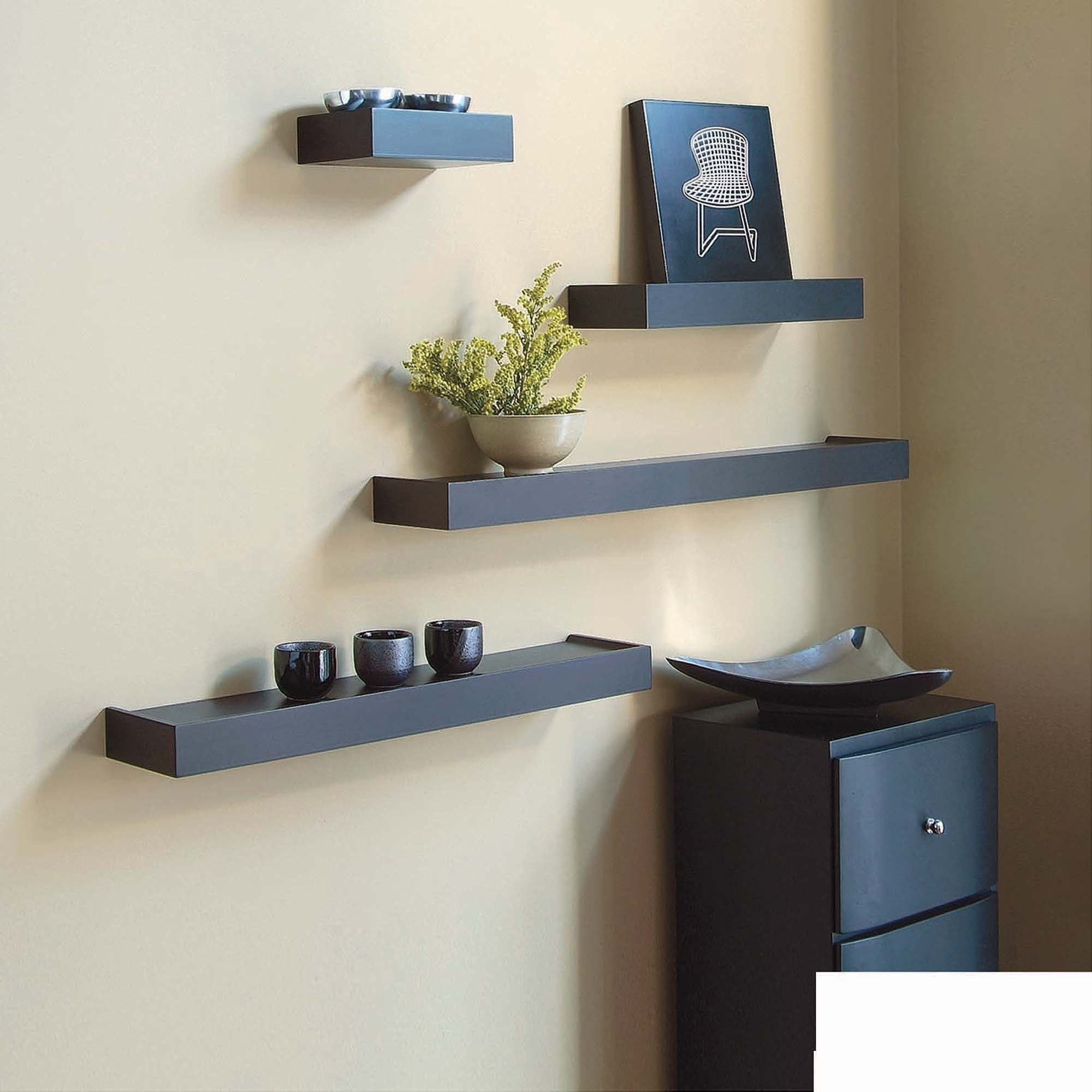 Kiera Grace Vertigo Set Of 4 Espresso Wall Shelves 6 12 20 With Regard To Wall Shelves (Image 9 of 15)