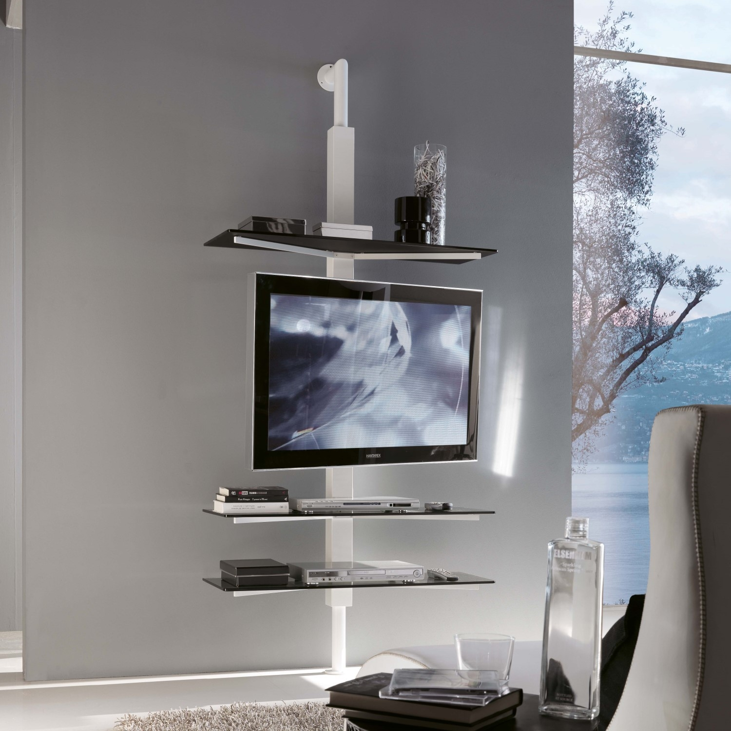 Kino Swivel Tv Stand With Glass Shelves Arredaclick Porta Tv In Glass Shelves For Living Room (Image 10 of 15)